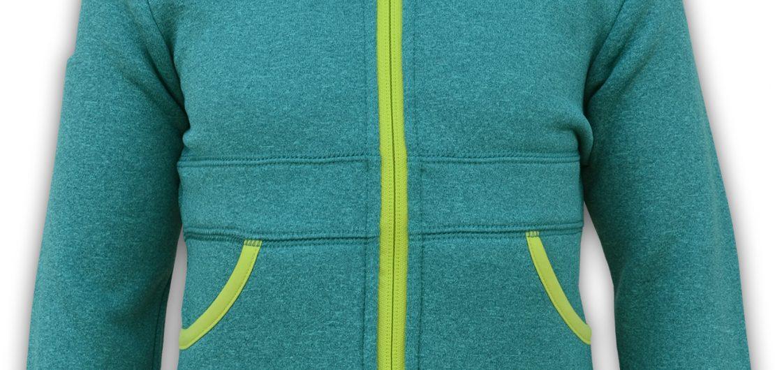green and yellow pockets kids zipper jacket summit edge brand logo