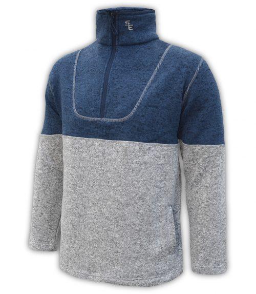 mens-north-shore-fleece-half-zip-denim-blue-gray-salt-and-pepper- summit-edge-jacket-pullover
