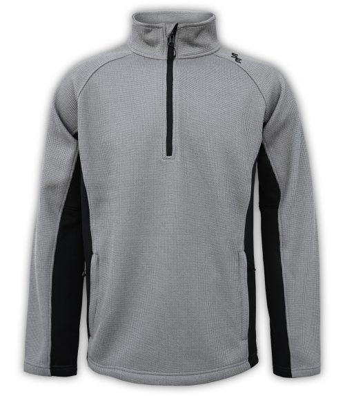summit-edge-mens-fleece-half-zip-quarter-zip-gray-black-pullover-ski-jacket-stand-up collar-zip-pockets outerwear