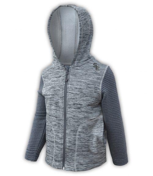 summit edge outerwear brand kids toddler sport fleece jacket, gray hood,, soft comfortable zipper