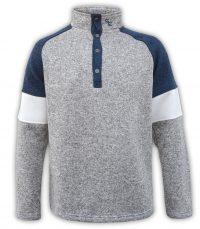 summit edge brand, color block sweater men, blue, white, snaps, collar
