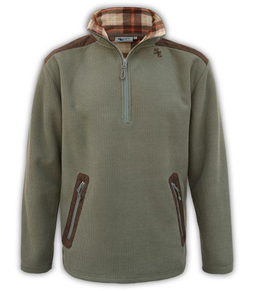 summit edge outerwear brand olive mens quarter zip pullover, soft plaid , imitation suede zip pockets, collar,
