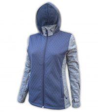 summit edge brand, Women's Diamond 3D Fleece Jacket, hood, zipper, carolina blue, gray