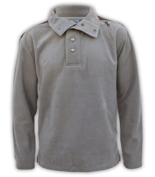 mens snaps corduroy shoulder patch imitation suede brown sweater summit edge