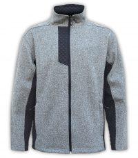 mens coarse weave 3d fleece jacket gray with black collar summit edge brand
