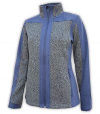 summit edge womens blue and gray full zip jacket embossed coarse weave fleece