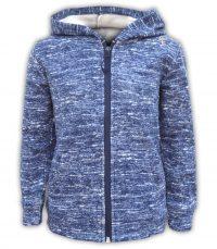 girls and boys fluffy jacket fleece blue hood full zipper